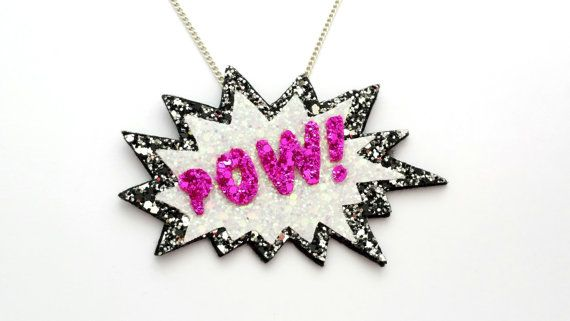 POW! Comic Glitter Necklace - FREE UK Shipping