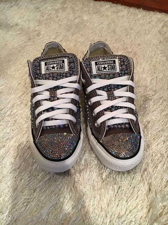 4c436f8d605d Custom Grey Converse With Black Diamond Two Tone Swarovski ...