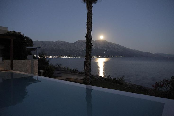 Full moon view from the pool