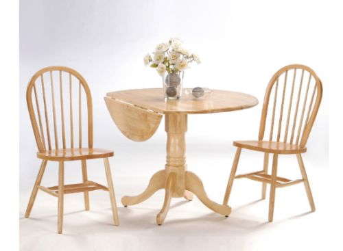 Dual Drop Leaf Pedestal Table and 2 Windsor Chairs in Natural Finish