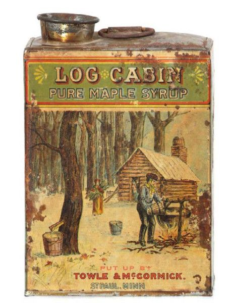 Log Cabin maple syrup tin. 6.25 x 4.25 x 2.75″ important and extremely rare, very early hand soldered product tin for Towle & McCormick Co.'s Maple Syrup (St. Paul, Minn.) with multi-color paper label with scene of syrup harvesting in a snowy setting.