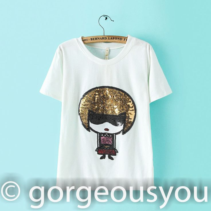 Women s Top Glittering Sequinned Lady Robot Print Blouse T-shirt