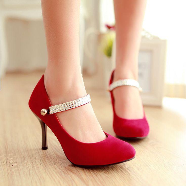 Sexy Party wedding heels diamante strappy Faux suede Thin heel Dress shoes Plus #brandnew #Stilettos