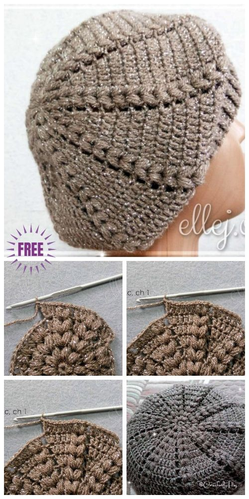 73f938e0c24 Crochet Easy Sunburst Puff Stitch Beret Hat Free Crochet Pattern