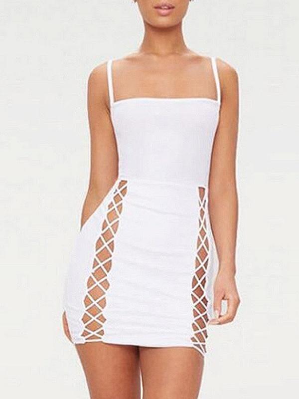 34998a51de White Spaghetti Strap Lace Up Front Bodycon Mini Dress in 2019 ...