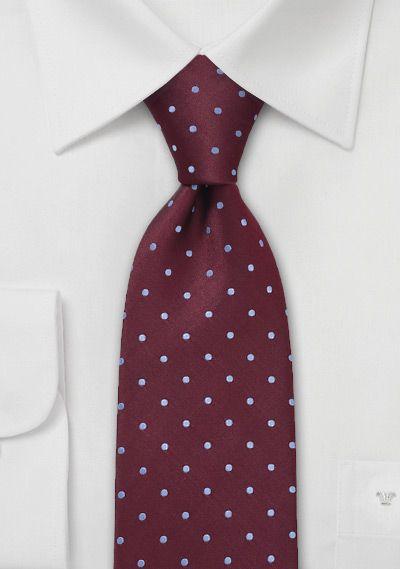 Light Blue and Burgundy Silk Tie