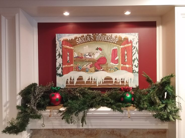 Family Room Mantle Custom painting with secret touches of Christmas memories & wishes.