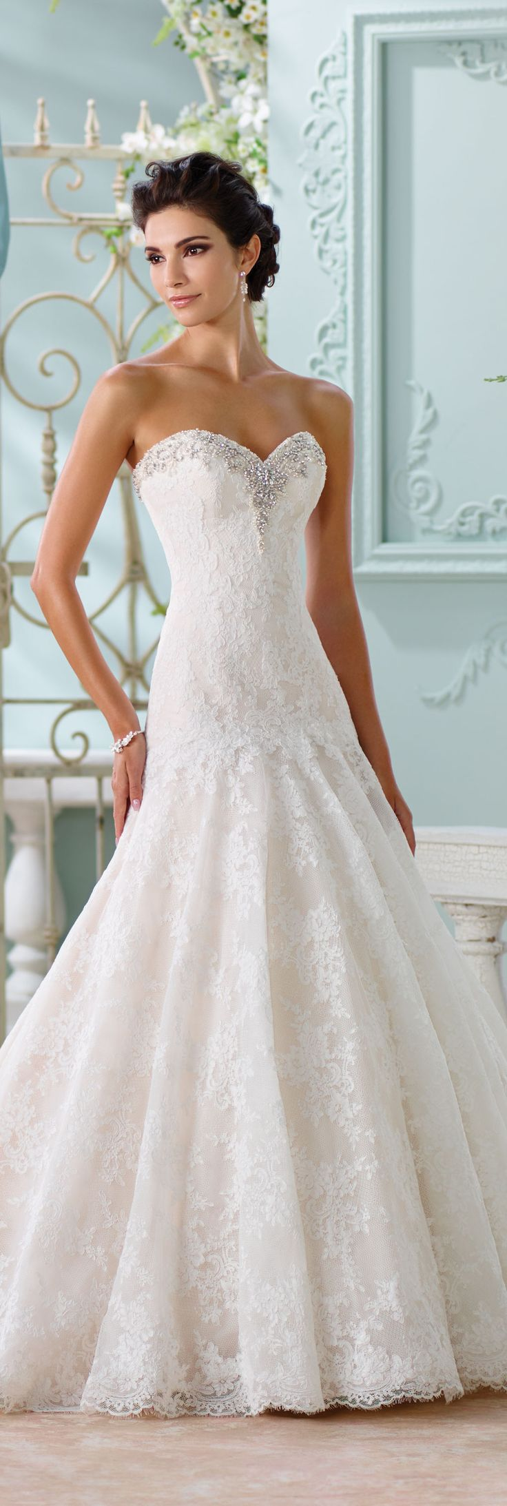 The David Tutera for Mon Cheri Spring 2016 Wedding Gown Collection - Style No. 116205 Chasca #laceweddingdresses