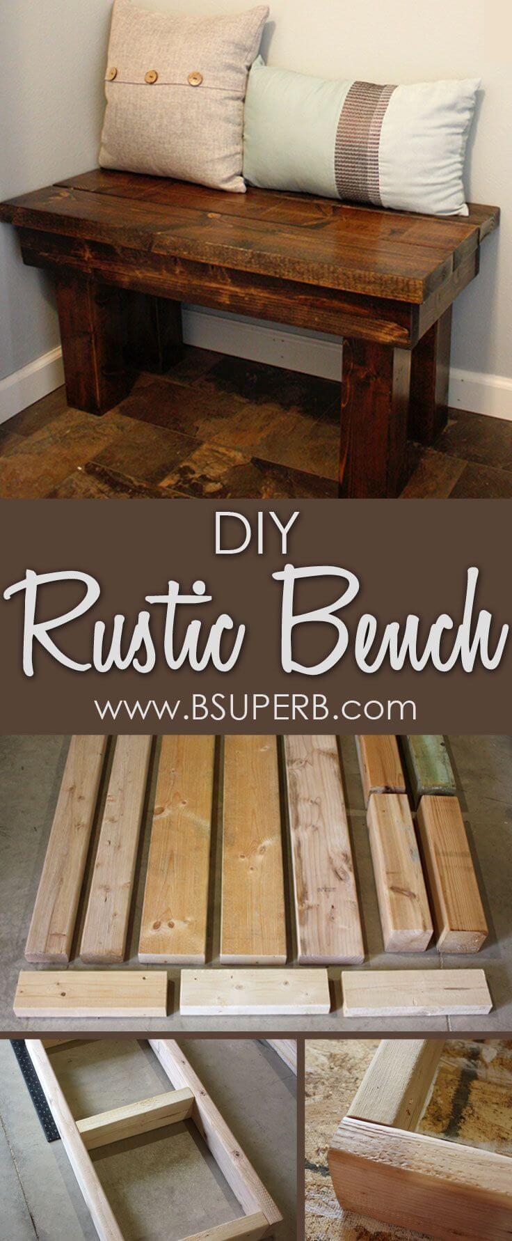 Easy+Rustic+Entryway+Wooden+Bench