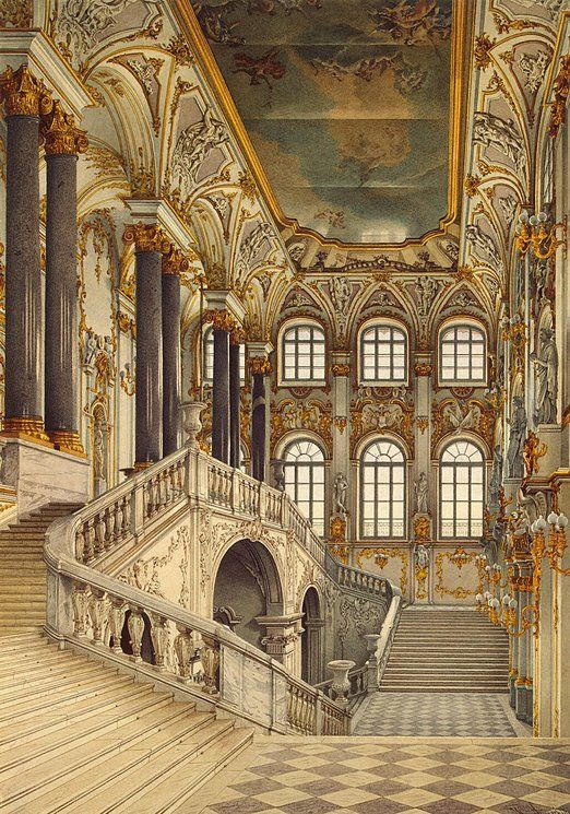 The Jordan Staircase at The Winter Palace in Saint Petersburg, Russia.