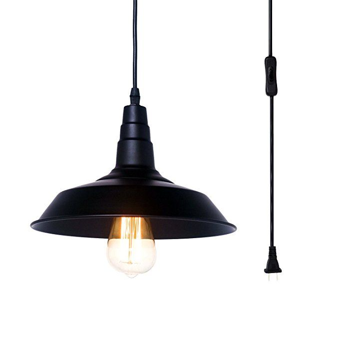 Pauwer Warehouse Pendant Lighting Plug In Black Metal Industrial