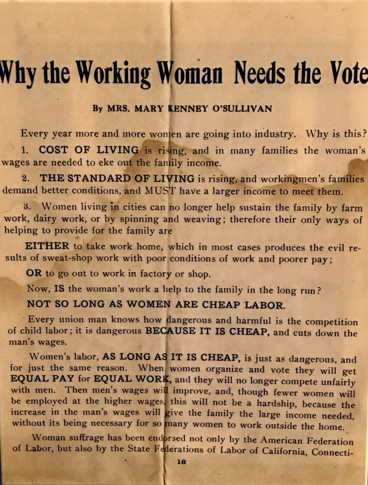 "The National American Woman Suffrage Association distributed leaflets like this one, written by Mary Kenney O'Sullivan, titled-- ""Why the Working Woman Needs the Vote."""