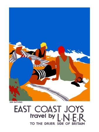 Sun-Bathing (East Coast Joys Travel by LNER), poster design by Tom Purvis