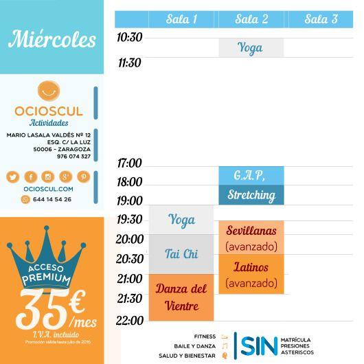 #BuenosDias #Zaragoza Actividades del Miércoles: #GAP #Stretching #Yoga #Sevillanas Avanzado #TaiChi #Latinos Avanzado #DanzaDelVientre