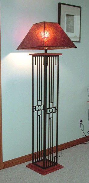 SW Sun Design, Welded Steel and Wood, Floor Lamp