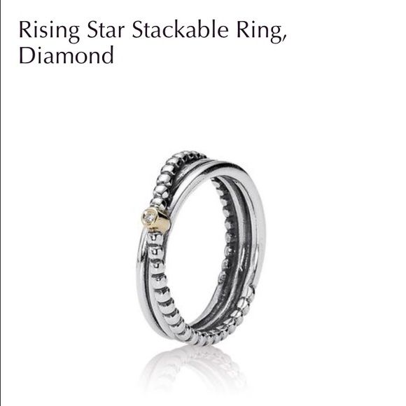 Rising Star Stackable Ring, Diamond. Intertwined plain and