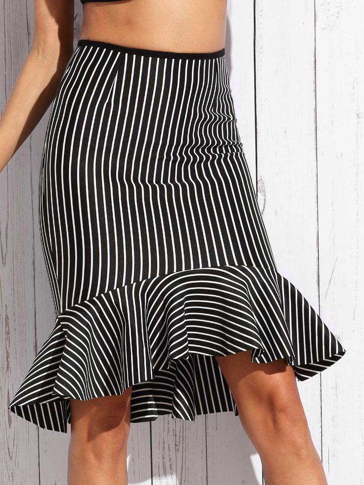 Shop Black Mixed Stripe Fishtail Skirt online. SheIn offers Black Mixed Stripe…