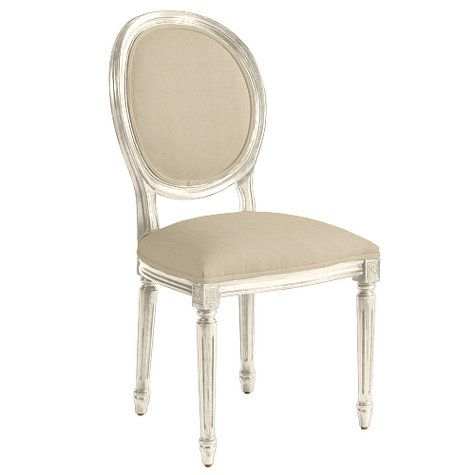 Louis XVI Oval Back Side Chair- Microfiber natural, gray ...
