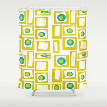 Geometric Shower Curtain By Crash Pad Designs Midcentury Shower Curtains