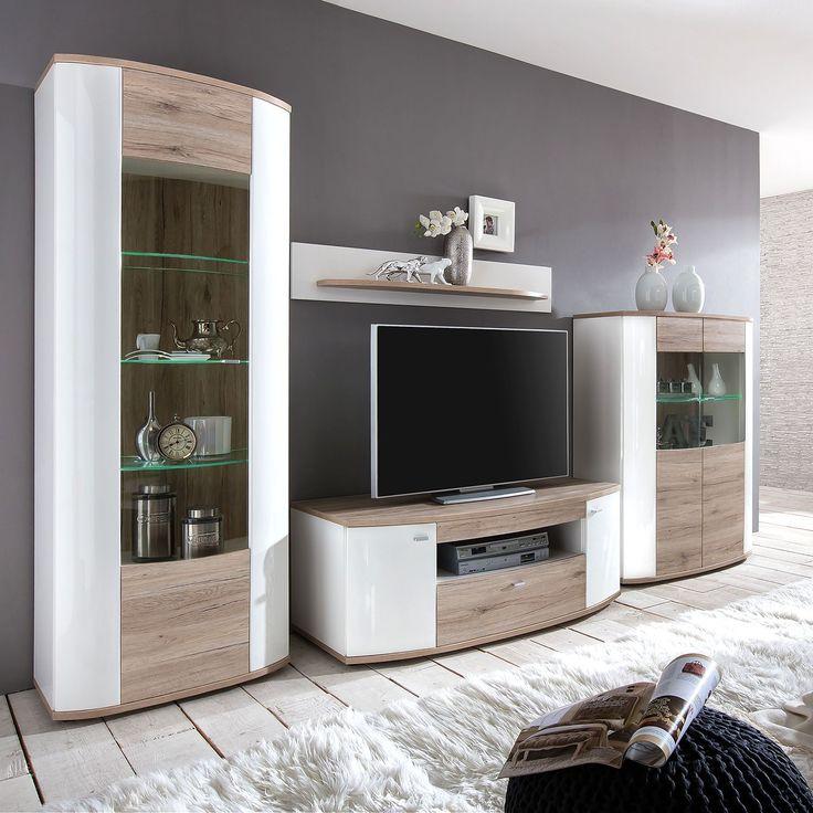 Wohnwand Karlsburg (4-teilig) - Hochglanz Weiß   Eiche Sanremo - bar wohnzimmer möbel