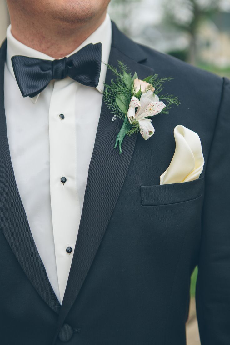 Wedding Tuxedo With Alstroemeria Boutonniere