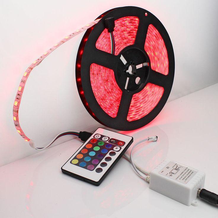 5 meter RGB Vandtæt LED.  Fjernbetjening m. 24 knapper.