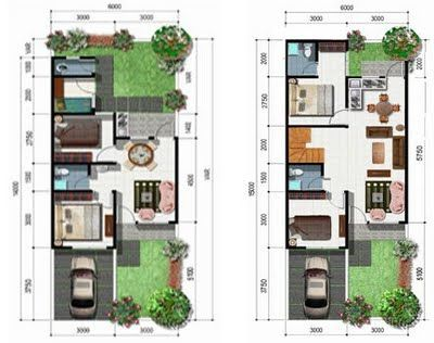 Desain Rumah Type 36 Denah dan Sketsa