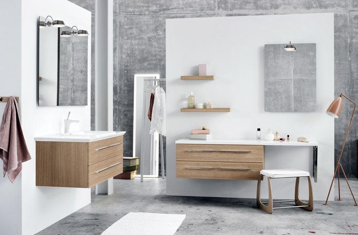 Make a combined bathroom, makeup room and dressing room with a stylish full-lenght framed LED-mirrorc and a stool to rest on.