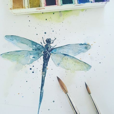Only a little dragonfly in the watercolor, to paint again after sharpening …, #aquarell #small #blind #mal #sharp