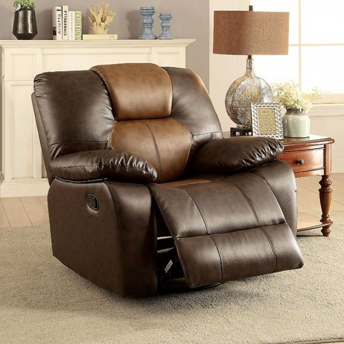 "Pollux Recliner Chair CM6864-CH For $329 Description: Add pops of neutral coloring to your most-visited room! This two-tone sofa collection features shades of brown that work well with any home décor. Paired with a built-in storage console, this reclining set is a must-have for the avid homebody. Features : Transitional Style Plush Cushions Recliners Two-Tone Design Leatherette Dark Brown & Light Brown Dimensions :  Recliner : 42 1/2""L X 38 1/2""W X 41""H (Seat Ht: 18 3/4"", Seat Dp:21"")"
