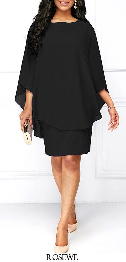 c8d9ef4ef55 Black Round Neck Chiffon Overlay Dress. Rosewe chiffon dress ...