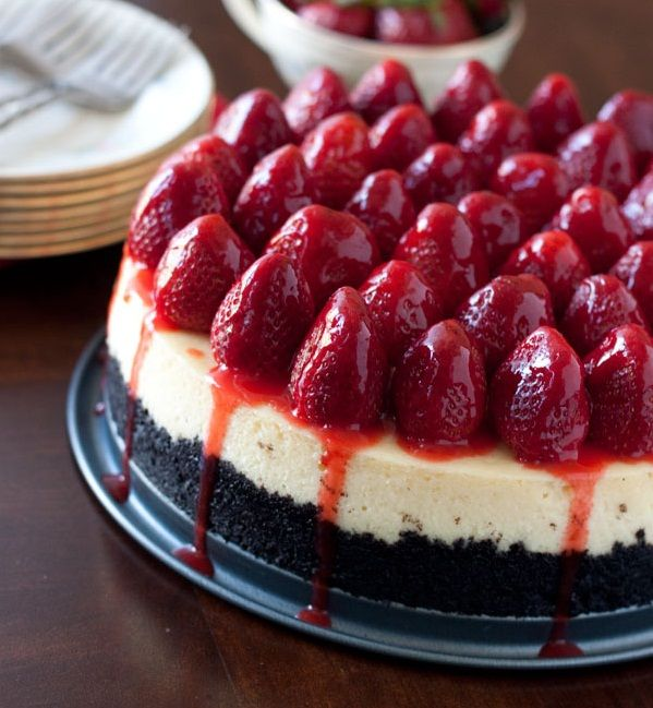 Strawberry Cheesecake with an Oreo Cookie Crust
