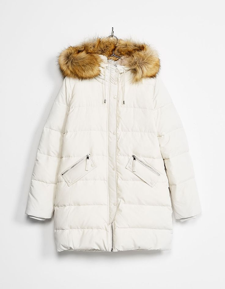 Abrigo nylon relleno pluma pelo desmontable - Abrigos y chaquetas - Bershka POR 13€