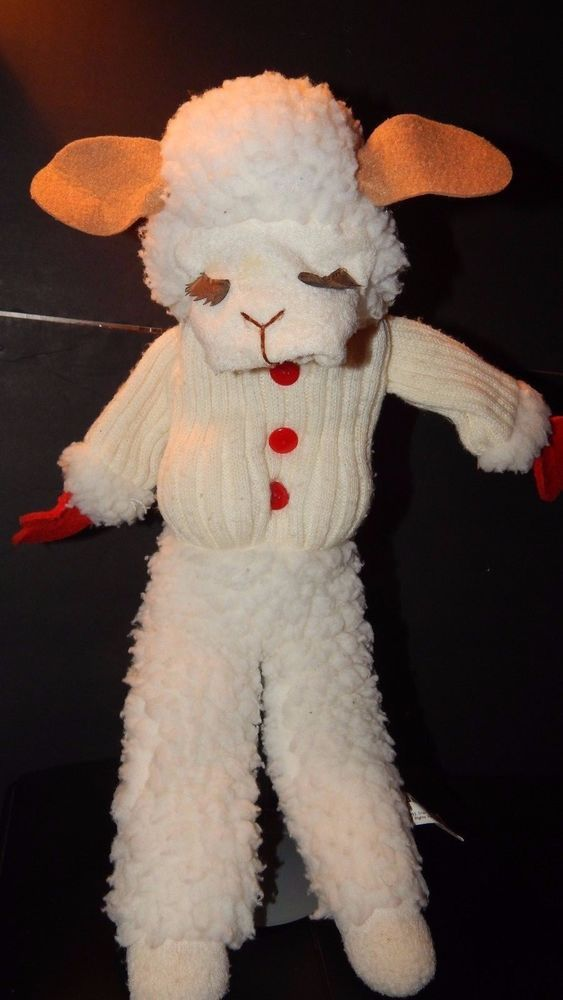 "VTG 19"" Long LAMB CHOP Full-Body Hand Puppet Shari Lewis Lambchop Flocked Plush #ShariLewisEnterpriseInc"