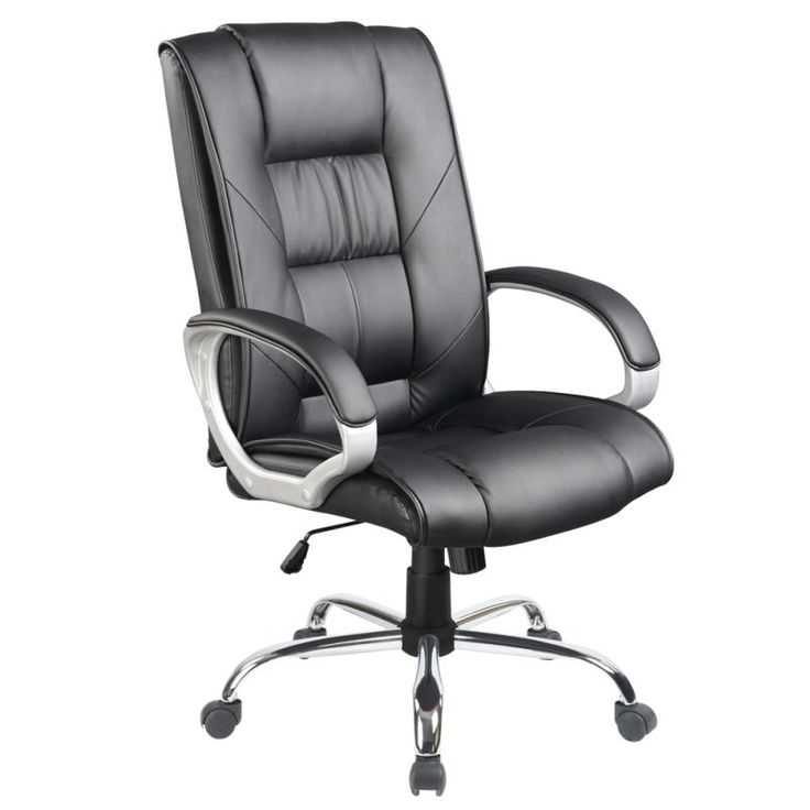 Executive PU Leather Chrome Office Chair In Black