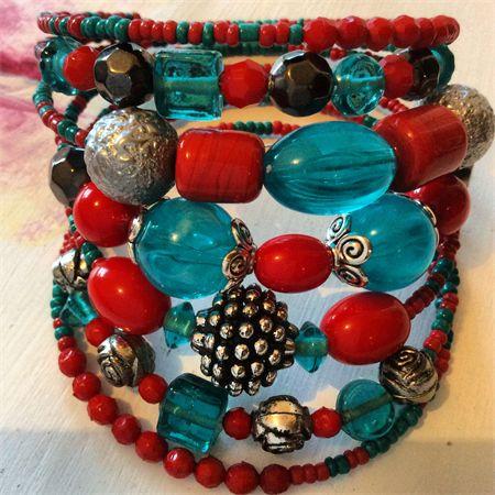 Red turquoise silvertone 7 wrap around bracelet memory wire bracelets   Created Designs by Rina   madeit.com.au
