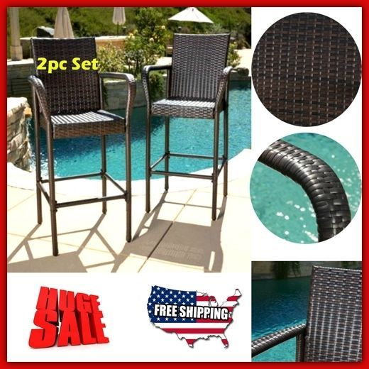 High Bar Stools 2pc Set Outdoor Patio Furniture Clearance Chair