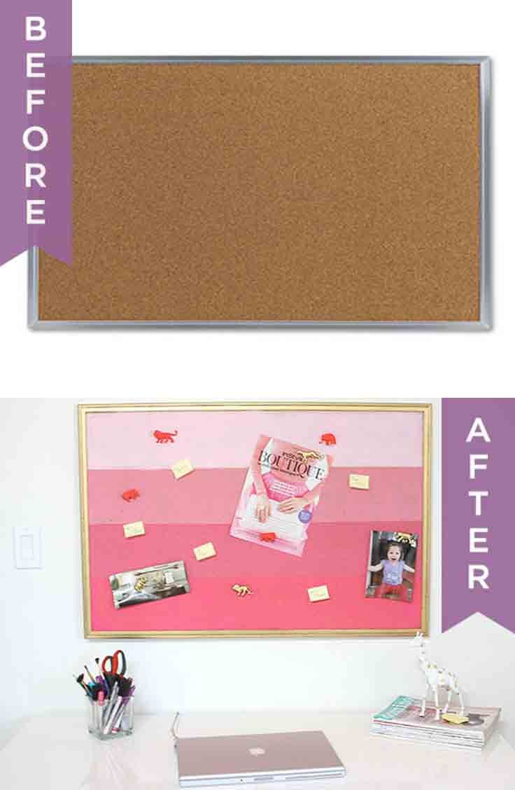 DIY pink ombre painted corkboard tutorial