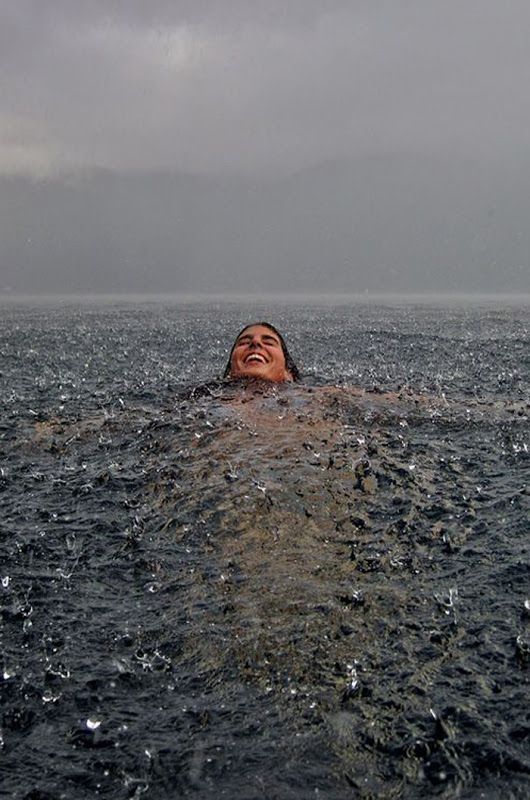 One of the best feelings. Swimming while it's raining.