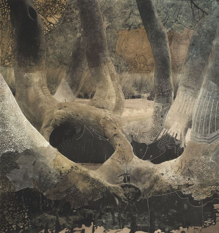 Joshua Yeldham, Fertility Tree - Morning Bay, shellac on unique carved pigment print on cotton papervia artpropelled