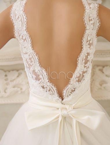 Vestido de noiva marfim em linha-A com decote v nas costas e renda Milanoo