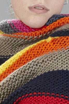 Daniela Gregis | triangular scarf in hand-knitted cloth with multicolor horizontal lines | #danielagregis