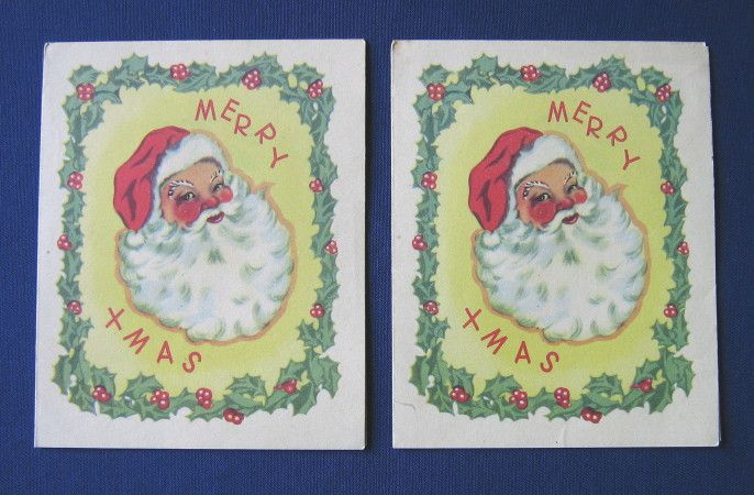 Pair of vintage Christmas cards by Loescher, unused, c.1940s (possibly wartime) (SOLD) - www.vanishederas.com