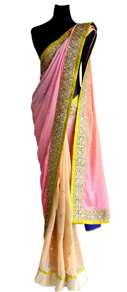 Peach Pink Crepe Silk Sari — Priti Sahni