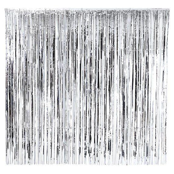 Large Silver Foil Fringe Curtain Decoration 2m X 2m Wedding