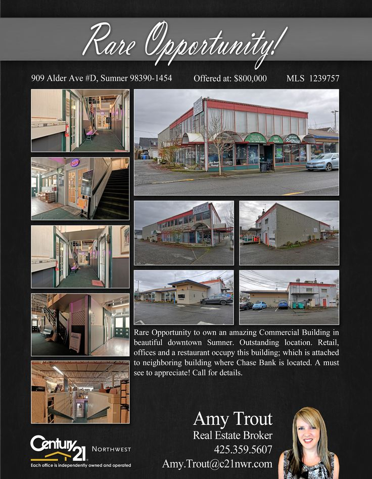 #NEWLISTING  Rare Opportunity to own an amazing Commercial Building in beautiful downtown Sumner. Outstanding location. Retail, offices and a restaurant occupy this building; which is attached to neighboring building where Chase Bank is located. A must see to appreciate!  Contact Amy Trout @ (425) 359-5607 MLS # (425) 359-5607 http://909alderaved.c21.com/