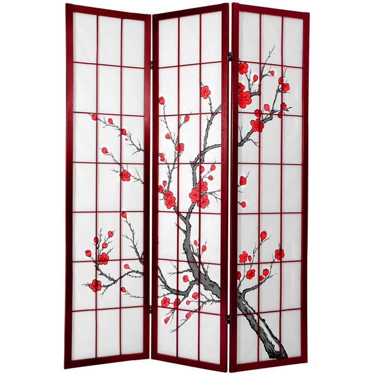 A fine rosewood finish, this screen features a large pane room divider with a lovely Japanese brush art rendering of a cherry tree in bloom printed on the front of the shades. Display as an art screen or use for privacy and to define space.