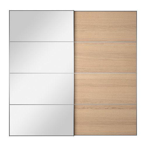 AULI / ILSENG 引き戸 2枚組, ミラーガラス, ホワイトステインオーク材突き板 200x201 cm ソフトクロージングダンパー