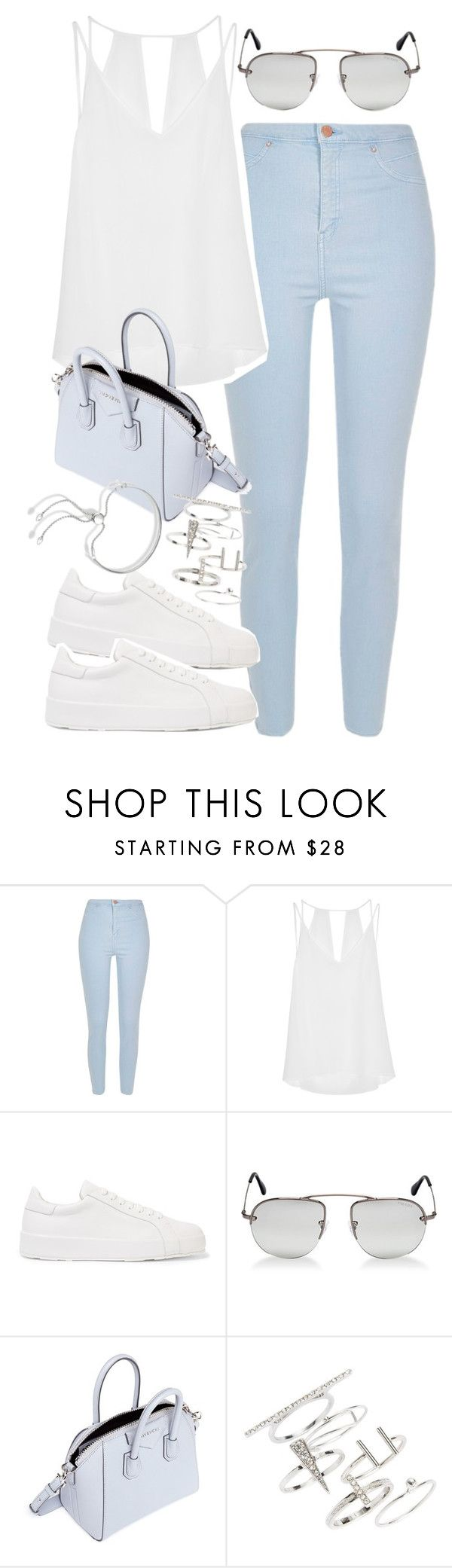 """Outfit with light blue jeans"" by ferned ❤ liked on Polyvore featuring River Island, Sandro, Jil Sander, Prada, Givenchy, Topshop and Monica Vinader"