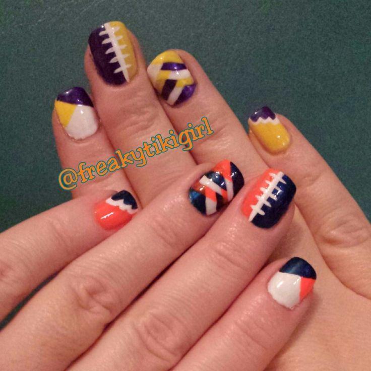 Chicago Bears & Minnesota Vikings, nail art, NFL nails